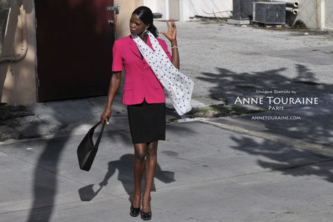 Pink polka dot scarf, silk, by ANNE TOURAINE Paris™ tied as a loose neck scarf