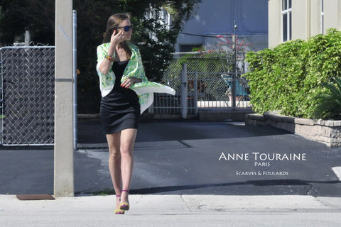 Extra large silk scarf by ANNE TOURAINE Paris™, green yellow and white, tied as a shawl