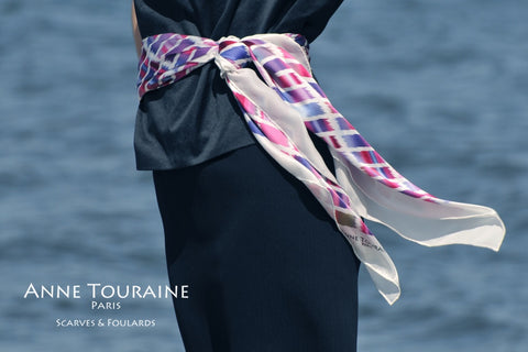 Extra large silk scarf, pink and blue by ANNE TOURAINE Paris™ tied as a romantic belt