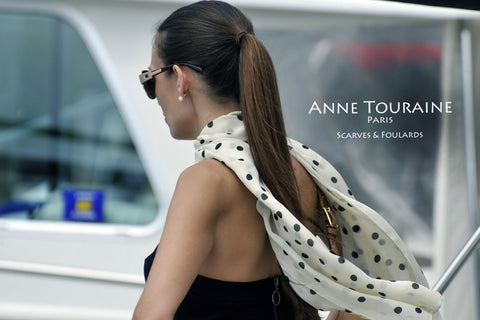 Silk polka dot scarf, light beige, by ANNE TOURAINE Paris™ as a flowing neck scarf
