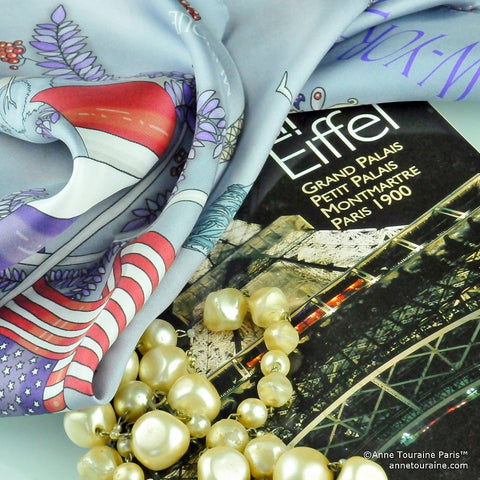 Paris New York silk scarf by ANNE TOURAINE Paris™ an pearls: the ultimate French elegance