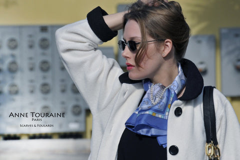 Blue silk scarf, winter inspiration, by ANNE TOURAINE Paris™ with a pearl necklace