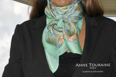 Neon green silk scarf by ANNE TOURAINE Paris™ tied as a kerchief
