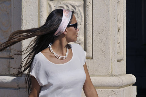 Pink head scarf by ANNE TOURAINE Paris™ and pearl necklace