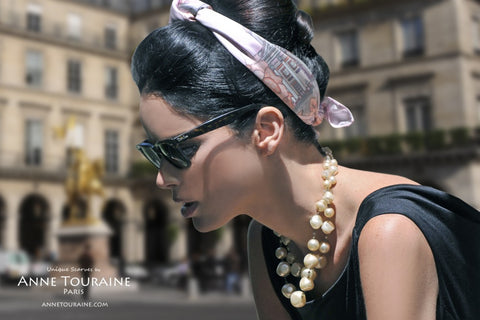 Pink silk scarf, Paris theme, by ANNE TOURAINE Paris™ with pearls a la Jackie O