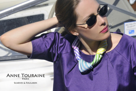 Fun neck scarves: an ANNE TOURAINE Paris™ multicolor striped scarf with several knots