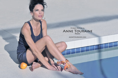 Fun scarf style with this orange scarf by ANNE TOURAINE Paris™ wrapped around the ankle.