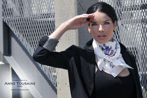Paris New York white silk scarf Paris New York scarf white tied as a neck kerchief by ANNE TOURAINE Paris™
