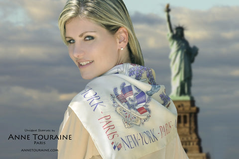 Paris New York beige silk scarf by ANNE TOURAINE Paris™ as a shoulder wrap