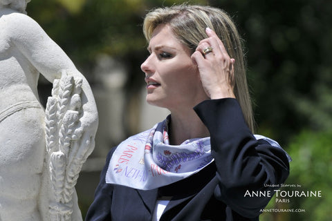 Paris New York silk scarf by ANNE TOURAINE Paris, blue, slightly tilted to the side™