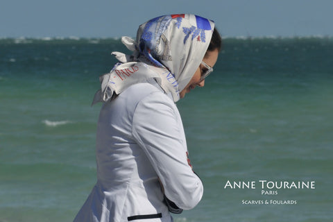 Paris New York scarf Paris New York scarf by ANNE TOURAINE Paris™ as a head scarf a la Grace Kelly
