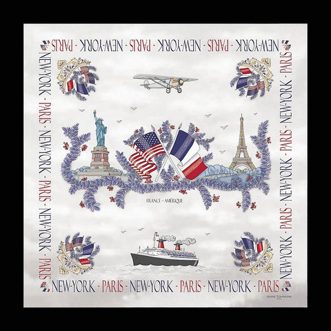 Paris New York scarf by ANNE TOURAINE Paris™; silk, white, made in France