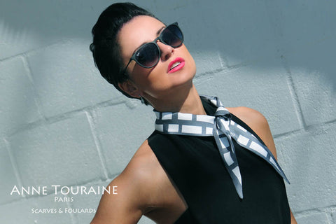 Silk twillies by ANNE TOURAINE Paris™: grey and white twilly tied as a short neck scarf