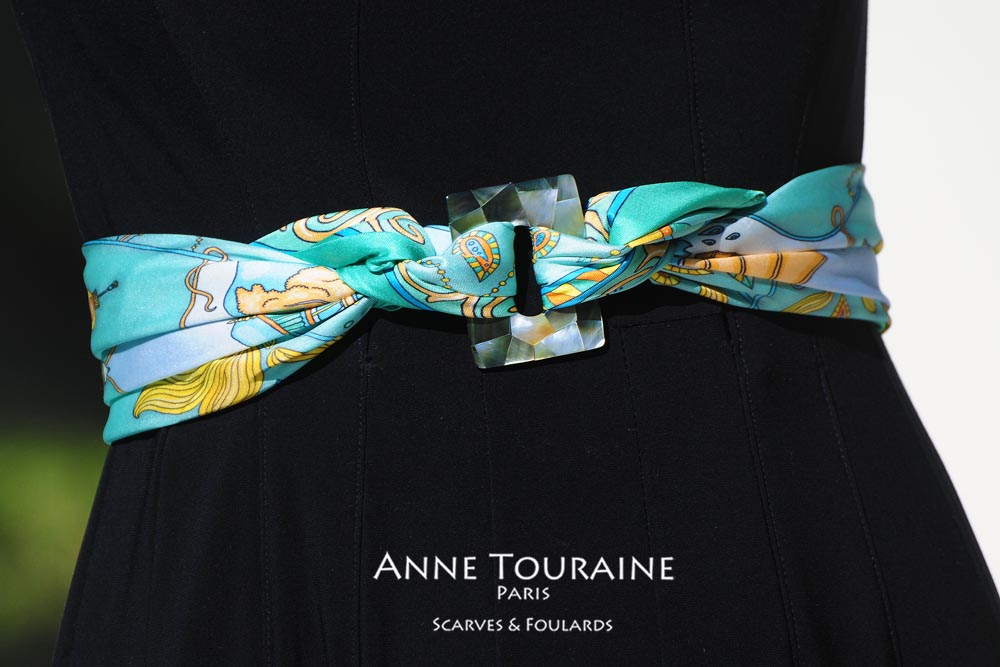 Chinese themed silk scarf and square scarf ring used to create an original belt: two unique creations by ANNE TOURAINE Paris™