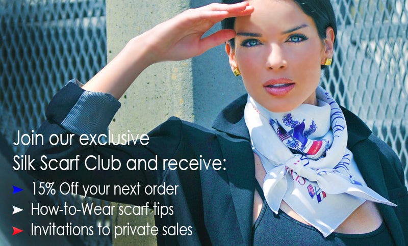 Subscribe to our Anne Touraine Paris online French silk scarves club and get the best discounts