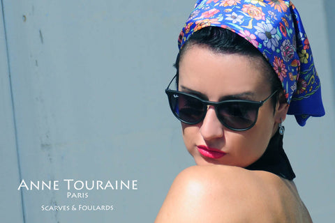 French silk scarves by ANNE TOURAINE Paris™: trendy floral blue scarf tied as a head bandana