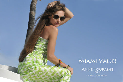 Extra large silk scarves by ANNE TOURAINE Paris™: green and white silk scarf tied a swim suit cover-up