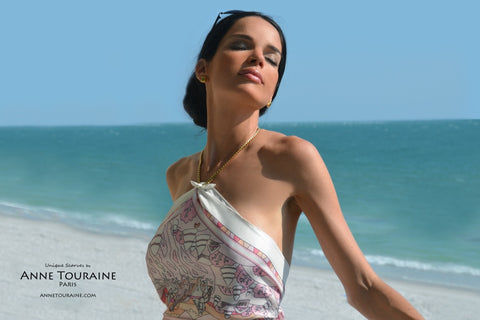 French silk scarves by ANNE TOURAINE Paris™: pink and white scarf tied as a dazzling halter top