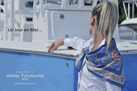 French silk scarves by ANNE TOURAINE Paris™: nautical blue scarf tied as a neck scarf tied as a shoulder wrap