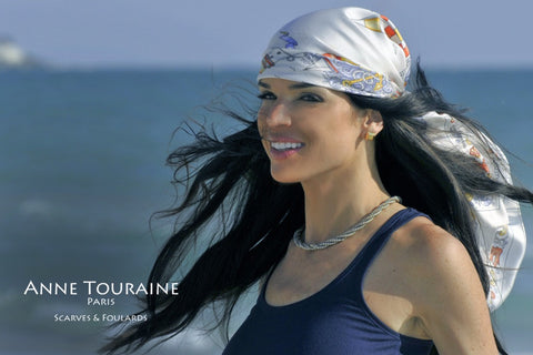 French silk scarves by ANNE TOURAINE Paris™: nautical pale grey scarf tied as a pirate headscarf