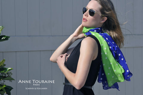 Blue and green polka dot silk scarves by ANNE TOURAINE Paris™