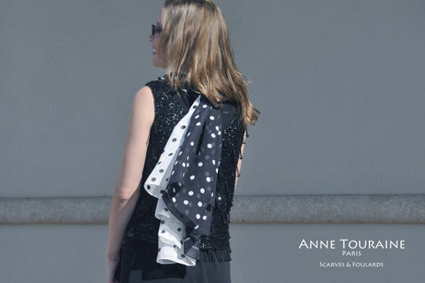 black and white polka dot silk scarves by ANNE TOURAINE Paris™. Roaring twenties like!