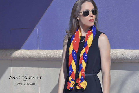 Red, orange and blue polka dot silk scarves by ANNE TOURAINE Paris™