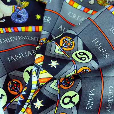 Astrology black scarf featuring the twelve zodiac signs  by ANNE TOURAINE Paris™ scarves (3)