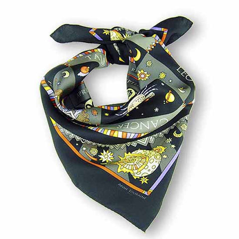 Astrology black scarf featuring the twelve zodiac signs  by ANNE TOURAINE Paris™ scarves (1)