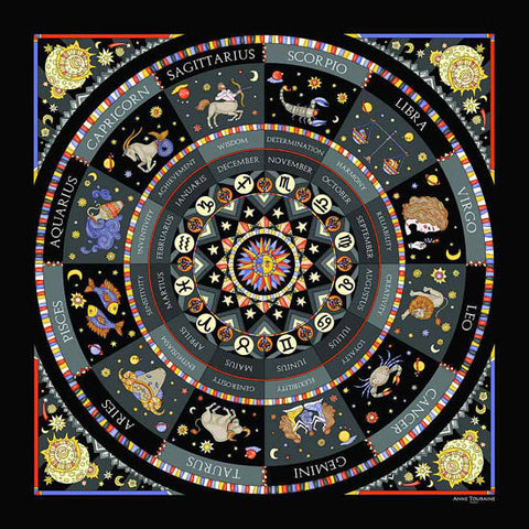 Astrology black scarf featuring the twelve zodiac signs  by ANNE TOURAINE Paris™ scarves (2)