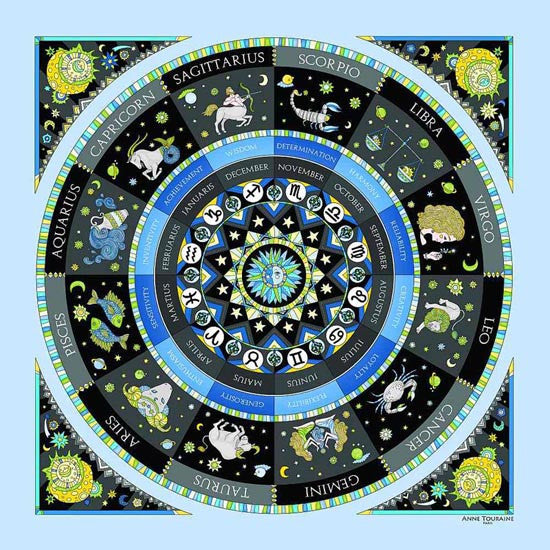 Astrology blue scarf featuring the twelve zodiac signs  by ANNE TOURAINE Paris™ scarves (1)