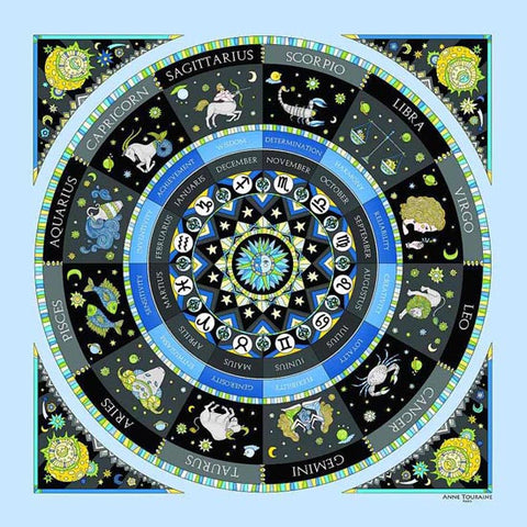 Astrology blue scarf featuring the twelve zodiac signs  by ANNE TOURAINE Paris™ scarves (2)