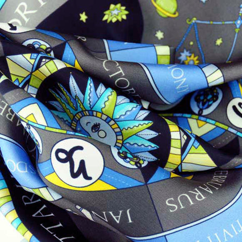 Astrology blue scarf featuring the twelve zodiac signs  by ANNE TOURAINE Paris™ scarves (3)