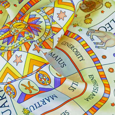 Astrology white scarf featuring the twelve zodiac signs  by ANNE TOURAINE Paris™ scarves (3)