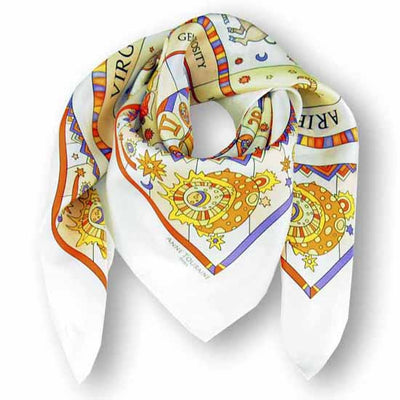 Astrology white scarf featuring the twelve zodiac signs  by ANNE TOURAINE Paris™ scarves (1)
