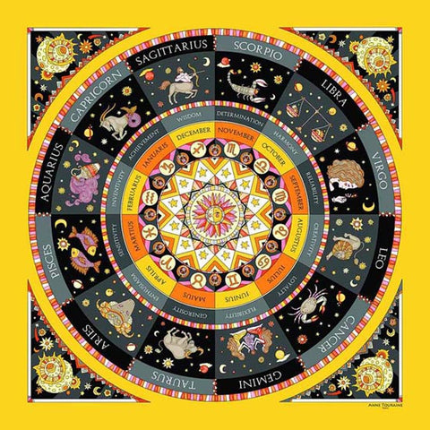 Astrology yellow and black scarf featuring the twelve zodiac signs  by ANNE TOURAINE Paris™ scarves (2)