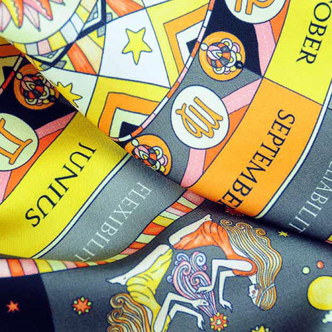 Astrology yellow and black scarf featuring the twelve zodiac signs  by ANNE TOURAINE Paris™ scarves (3)