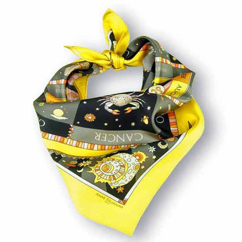 Astrology yellow and black scarf featuring the twelve zodiac signs  by ANNE TOURAINE Paris™ scarves (1)
