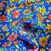 Blue floral silk scarf made in France by ANNE TOURAINE Paris™ scarves (3)