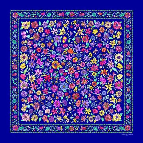 Blue floral silk scarf made in France by ANNE TOURAINE Paris™ scarves (2)