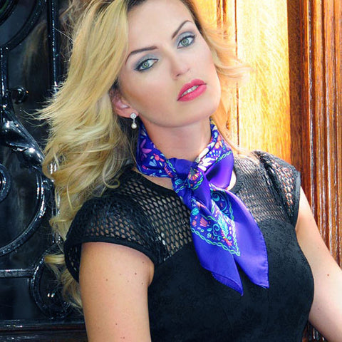 Blue floral silk scarf made in France by ANNE TOURAINE Paris™ scarves tied around the neck