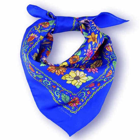 Blue floral silk scarf made in France by ANNE TOURAINE Paris™ scarves (1)