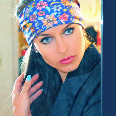 Blue floral silk scarf made in France by ANNE TOURAINE Paris™ scarves tied as a large and trendy headband