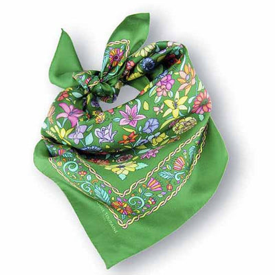 Green floral silk scarf made in France by ANNE TOURAINE Paris™ scarves (1)