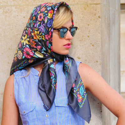 Floral French scarf, 100% silk, grey color, by ANNE TOURAINE Paris™ scarves tied as a head scarf a la Jackie Kennedy