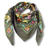 Floral French scarf, 100% silk, grey color, by ANNE TOURAINE Paris™ scarves (1)