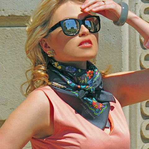 Floral French scarf, 100% silk, grey color, by ANNE TOURAINE Paris™ scarves tied as a bandana neck scarf