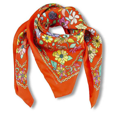 Red Floral scarf, 100% silk twill, made in France by ANNE TOURAINE Paris™ scarves (1)