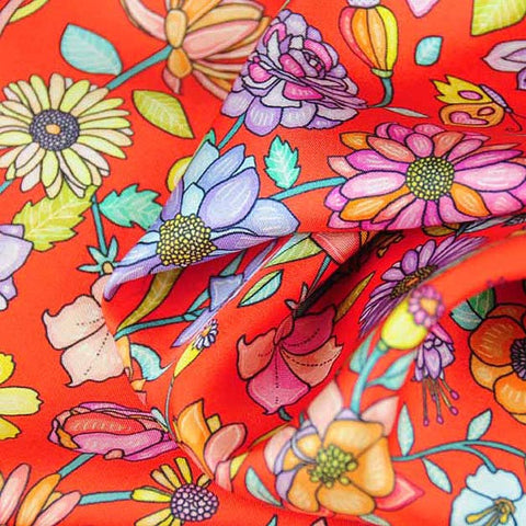 Red Floral scarf, 100% silk twill, made in France by ANNE TOURAINE Paris™ scarves (3)