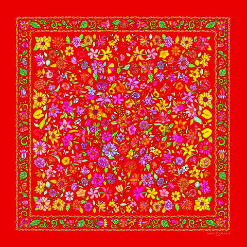 Red Floral scarf, 100% silk twill, made in France by ANNE TOURAINE Paris™ scarves (2)